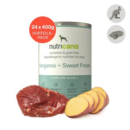 Adult wet dog food: 24 x 400g Kangaroo + Sweet Potato