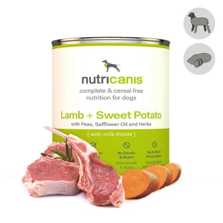 Adult wet dog food: 800g Lamb + Sweet potato with milk thistle