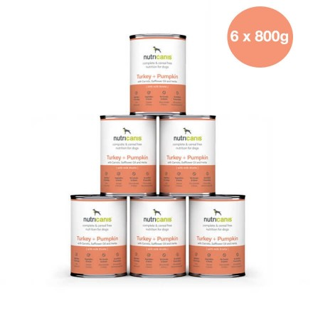 Adult wet dog food: 6 x 800g Turkey + Pumpkin with milk thistle